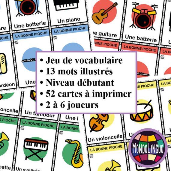 Jeu de cartes FLE : Bonne Pioche sur les instruments de musique - Mondolinguo - Français